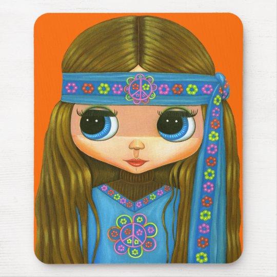 Flower Power Hippie Girl Mousepad