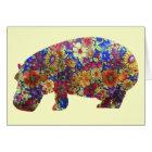 Flower Power Hippie Hippopotamus Birthday Card