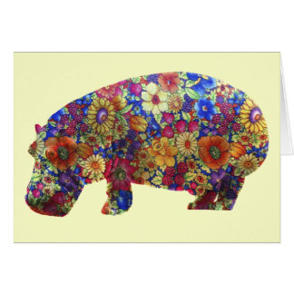 Flower Power Hippie Hippopotamus Birthday Card