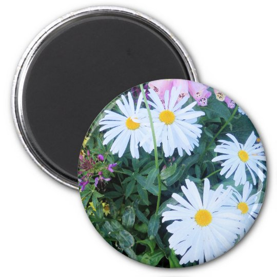 flower power in alaska 6 cm round magnet