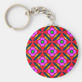 Flower Power in Pink Design Basic Round Button Key Ring