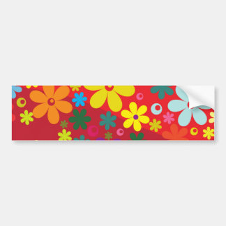 Flower Power in Red Bumper Sticker