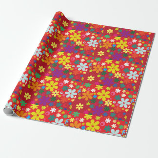 Flower Power in Red Wrapping Paper
