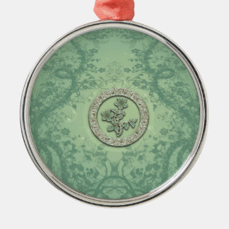 Flower power in soft green colors christmas ornament