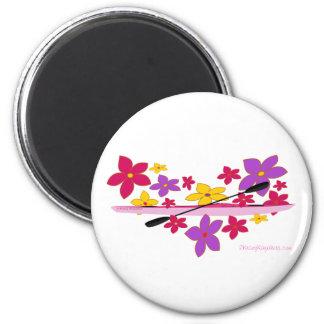 Flower Power Kayak 6 Cm Round Magnet