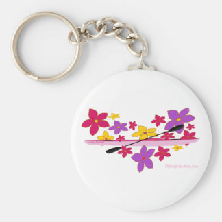 Flower Power Kayak Basic Round Button Key Ring