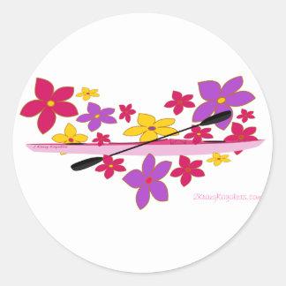 Flower Power Kayak Classic Round Sticker