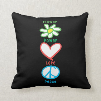 Flower Power Love and Peace Throw Pillow