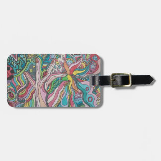 flower power luggage tag