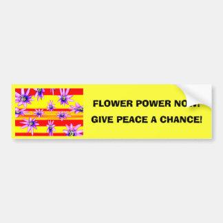 FLOWER POWER NOW! CAR BUMPER STICKER
