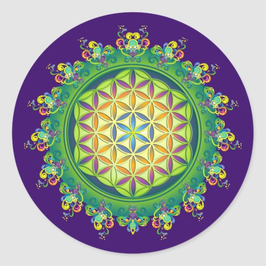 Flower Power of Life / Blume des Lebens Classic Round Sticker