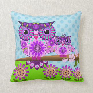 Flower power Owl and her owlet Throw Pillow