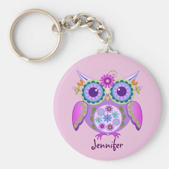 Flower power Owl & custom Name Basic Round Button Key Ring