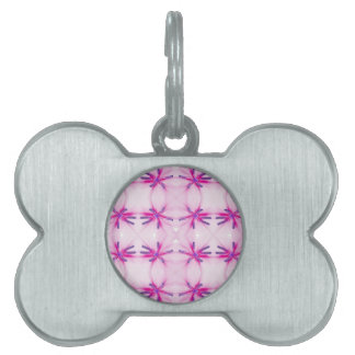Flower power pattern pet name tag
