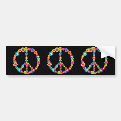 Flower Power Peace Bumper Sticker