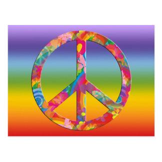 Flower Power Peace | chakren color Postcard
