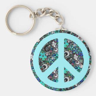 Flower Power Peace II cyan Key Chains