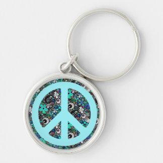 Flower Power Peace II cyan Keychain