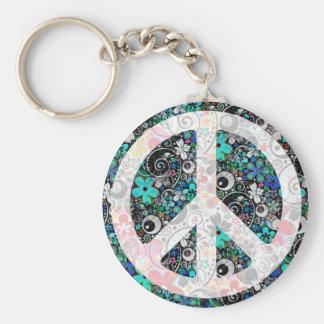 Flower Power Peace II light Keychains