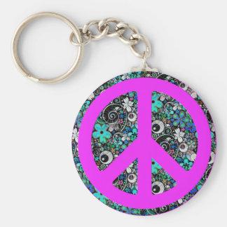 Flower Power Peace II pink Keychain