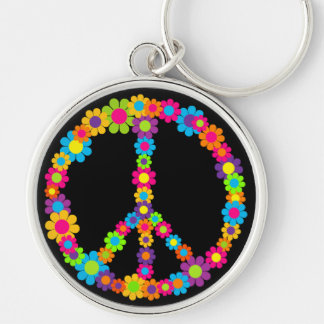 Flower Power Peace Key Ring