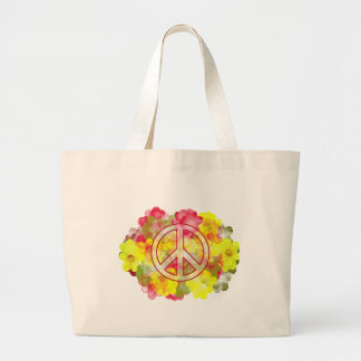 Flower Power Peace Large Tote Bag