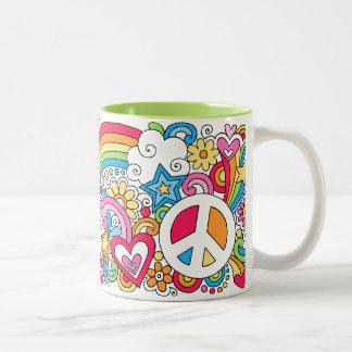 Flower Power Peace Love Happiness Rainbow Mug ♥