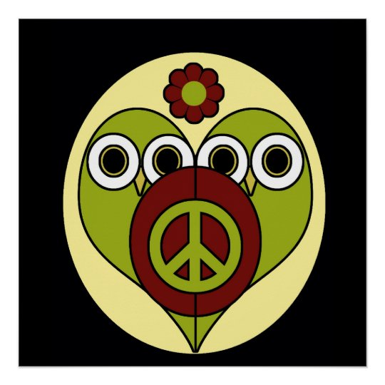 Flower Power Peace Owls Poster