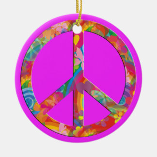 Flower Power Peace | pink Round Ceramic Decoration