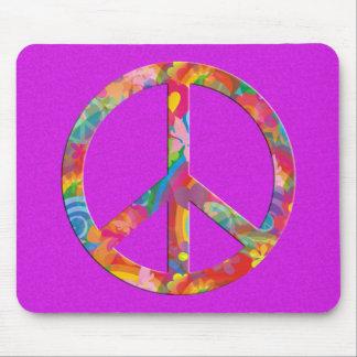 Flower Power Peace | pink splatter Mouse Pads