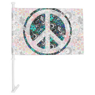Flower Power Peace sign II + your backgr. & ideas Car Flag