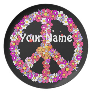 Flower Power Peace Sign - Your Name Plate