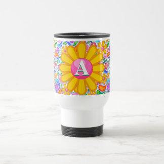Flower Power Personalized Travel Mug
