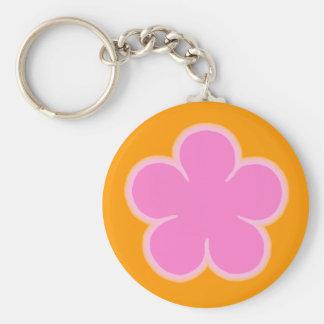 Flower Power Pink & Orange Flower Keychain