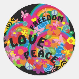 Flower Power Rainbow | black Round Sticker