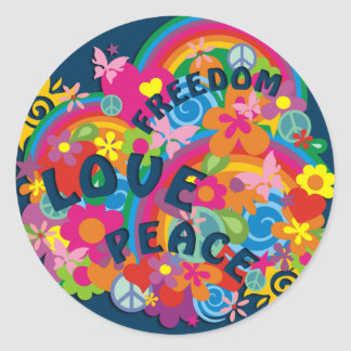 Flower Power Rainbow | dark blue Classic Round Sticker