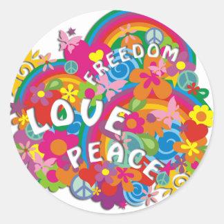 Flower Power Rainbow Round Sticker