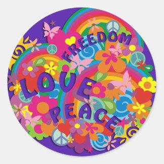 Flower Power Rainbow | violet Round Sticker