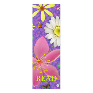Flower Power READ bookmark Double-Sided Mini Business Cards (Pack Of 20)