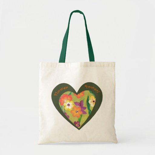 Flower Power retro green tote sack Bag