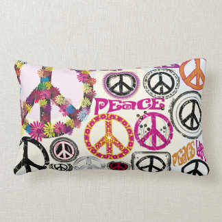 Flower Power Retro Peace & Love Hippie Symbols Lumbar Pillow