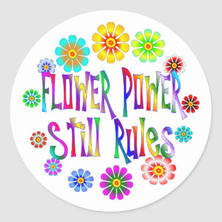Flower Power Rules Classic Round Sticker