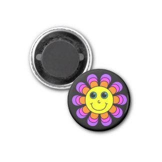Flower Power Smiley Face 3 Cm Round Magnet