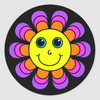 Flower Power Smiley Face Classic Round Sticker