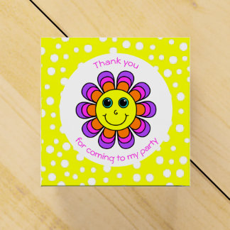 Flower Power Smiley Face Thank You Party Wedding Favour Box