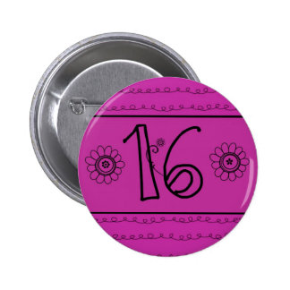Flower Power Sweet Sixteen Party 6 Cm Round Badge