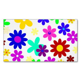 FLOWER POWER transparent ~.png Magnetic Business Cards
