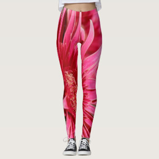 Flower Power! Vivid Pink Gerbera Daisy on Gray Leggings