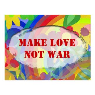 Flower Power & your text, MAKE LOVE NOT WAR Postcard