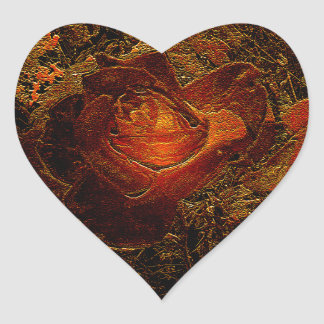 Flower Print Orange Burst Rose Heart Sticker